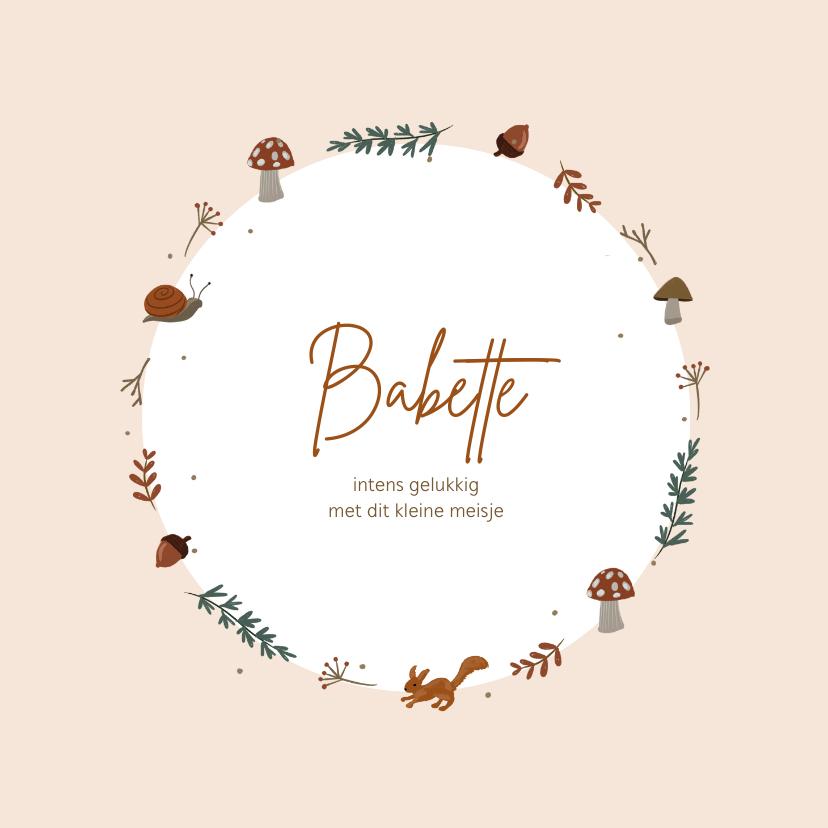 Geboortekaartjes - Herfst geboortekaartje krans paddenstoel dieren takjes