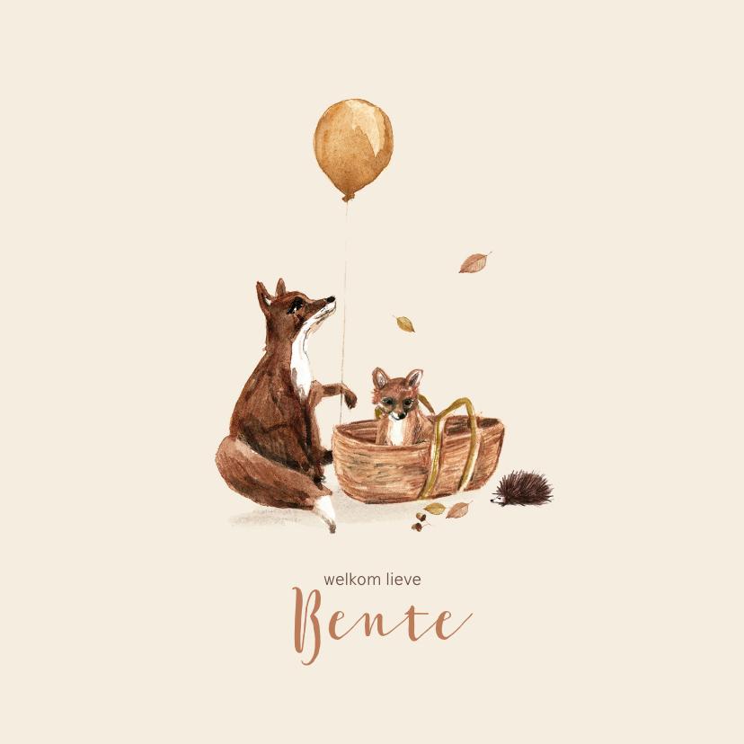 Geboortekaartjes - Herfst geboortekaartje met handgetekende vosjes