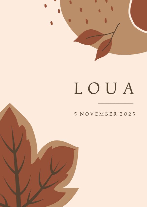 Geboortekaartjes - Herfst geboortekaartje voor een meisje met abstracte vormen