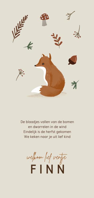 Geboortekaartjes - Herfst geboortekaartje vos blaadjes paddenstoel