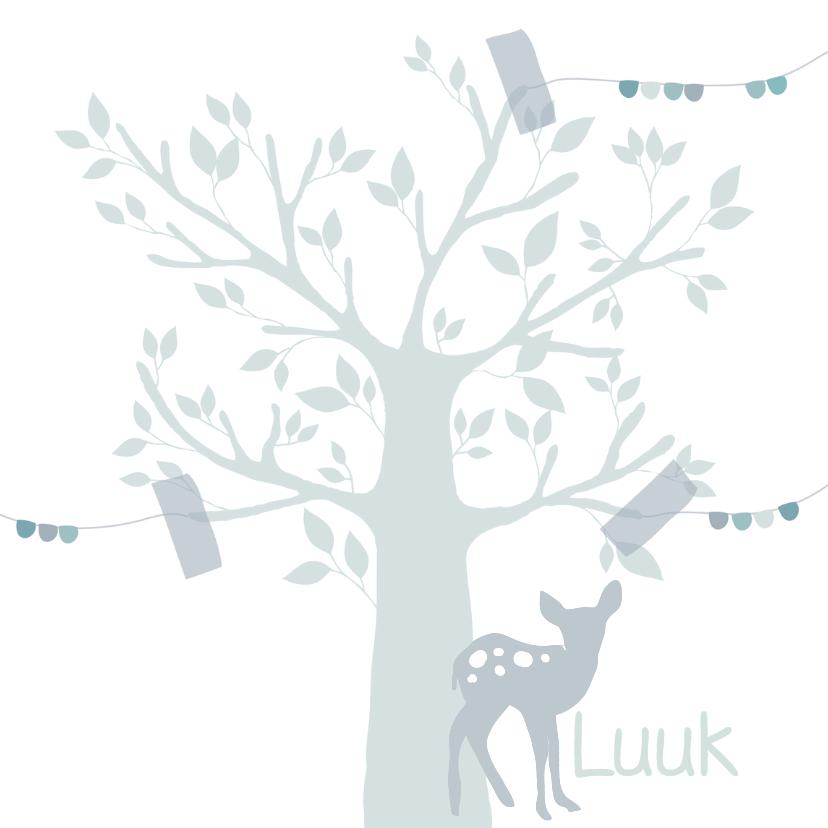 Geboortekaartjes - Hip geboortekaartje boom hert j