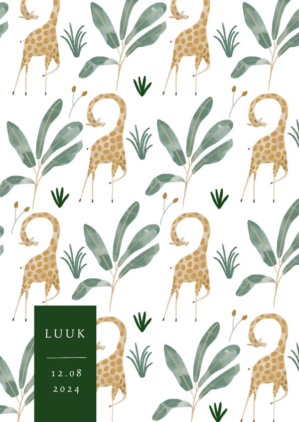Geboortekaartjes - Hip geboortekaartje giraffen patroon met label