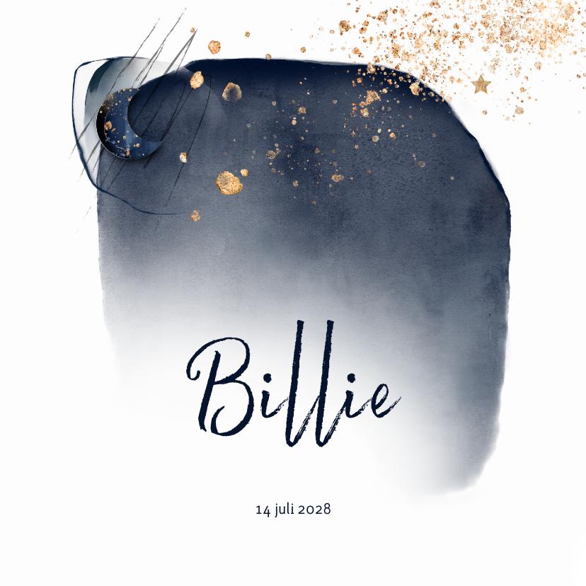 Geboortekaartjes - Hip geboortekaartje jongen maan, donkerblauw watercolor
