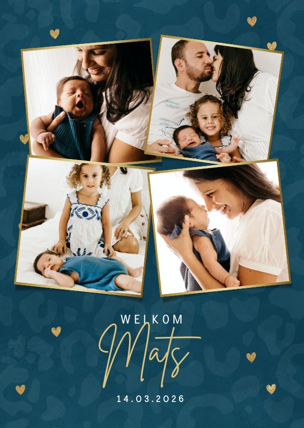 Geboortekaartjes - Hip geboortekaartje met panterprint gouden hartjes & foto's