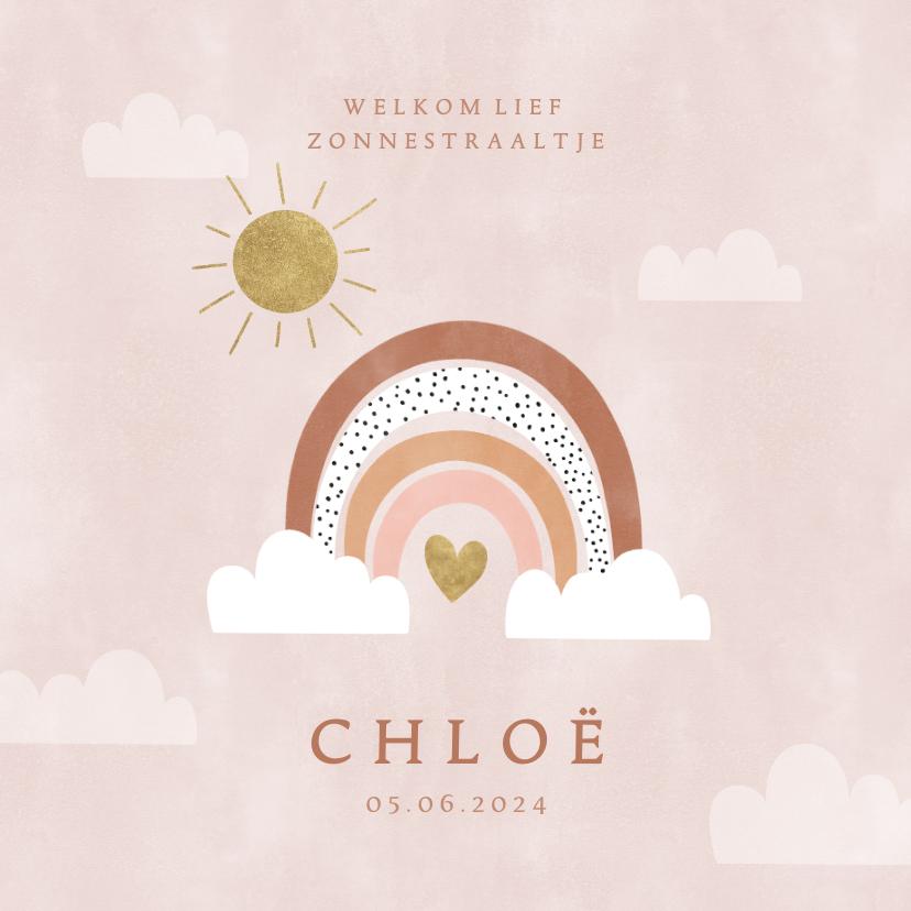 Geboortekaartjes - Hip geboortekaartje met regenboog, zon en wolkjes meisje
