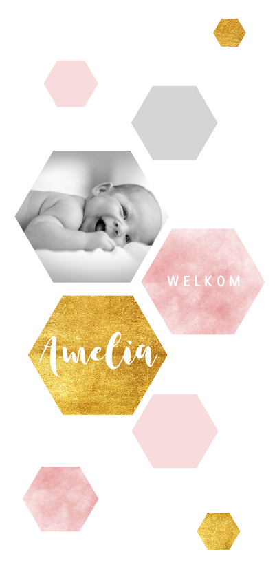 Geboortekaartjes - Hip geboortekaartje met waterverf en goudlook zeshoeken