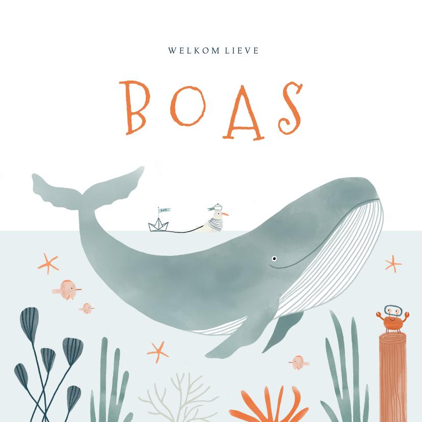 Geboortekaartjes - Hip geboortekaartje oceaan walvis dieren illustratie