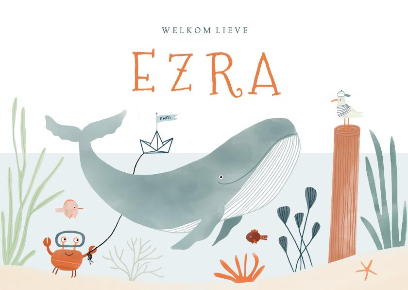 Geboortekaartjes - Hip geboortekaartje onderwater walvis dieren illustratie