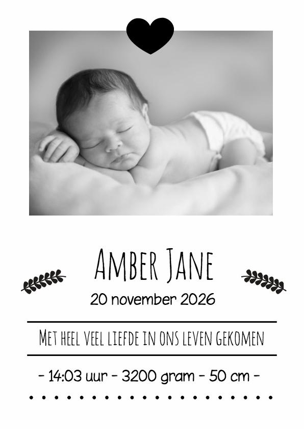 Geboortekaartjes - Hip kaartje zwart wit - DH