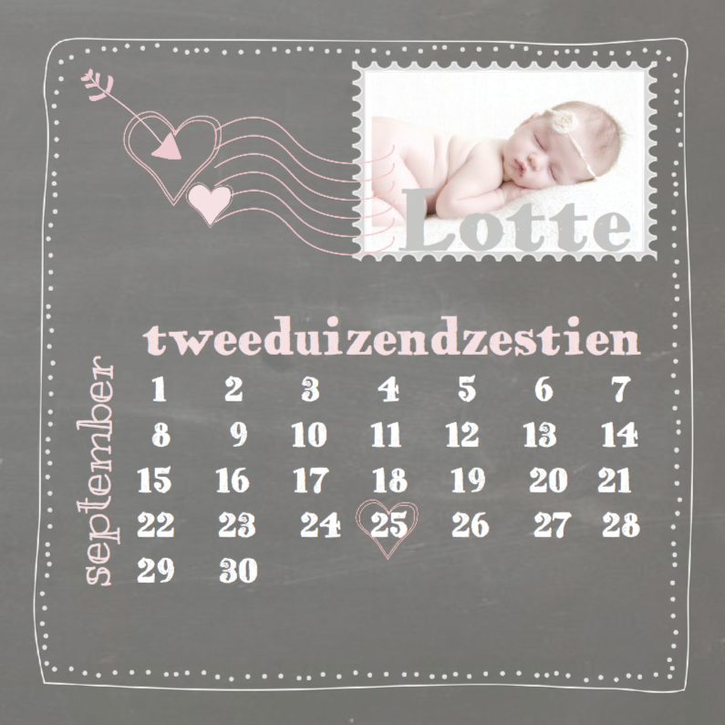 Geboortekaartjes - Hip schoolbord geboortekaart