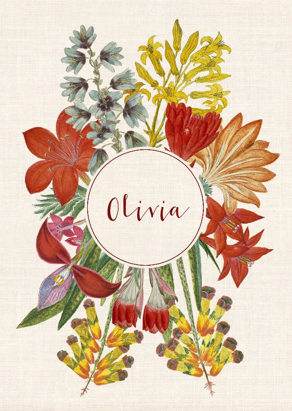 Geboortekaartjes - Hippe geboortekaart met krans van vintage bloemen.