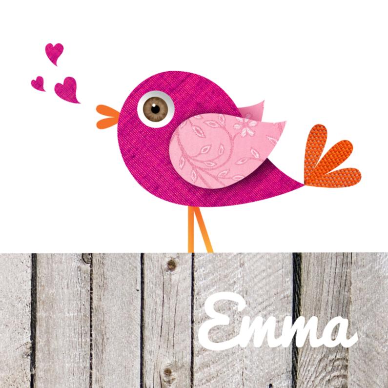 Geboortekaartjes - Hippe roze vogel