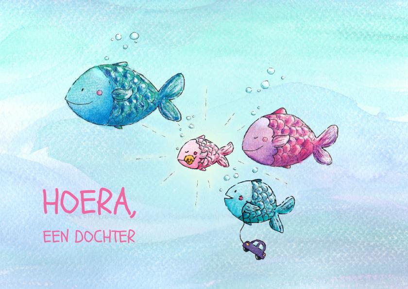 Geboortekaartjes - Hoera, een dochter visjes