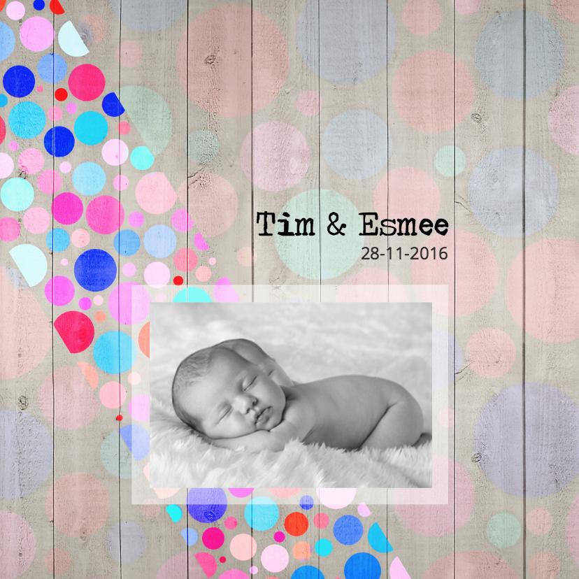 Geboortekaartjes - Hout-gekleurde ballen-eigen foto