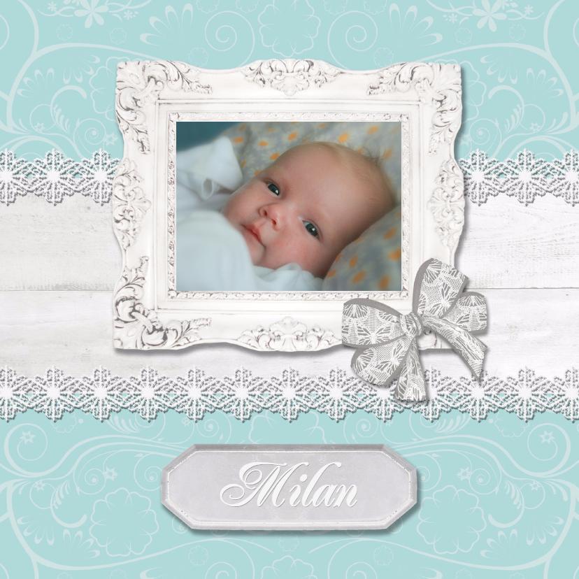 Geboortekaartjes - Hout met Label groen - BK