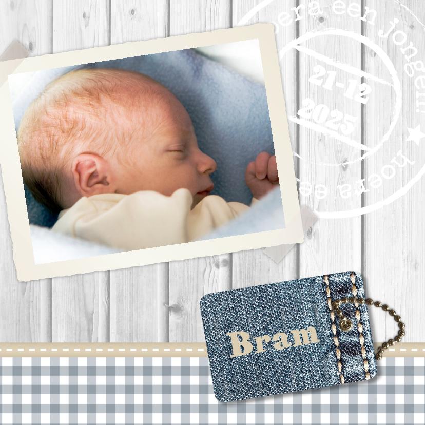 Geboortekaartjes - Hout met Label jongen - BK