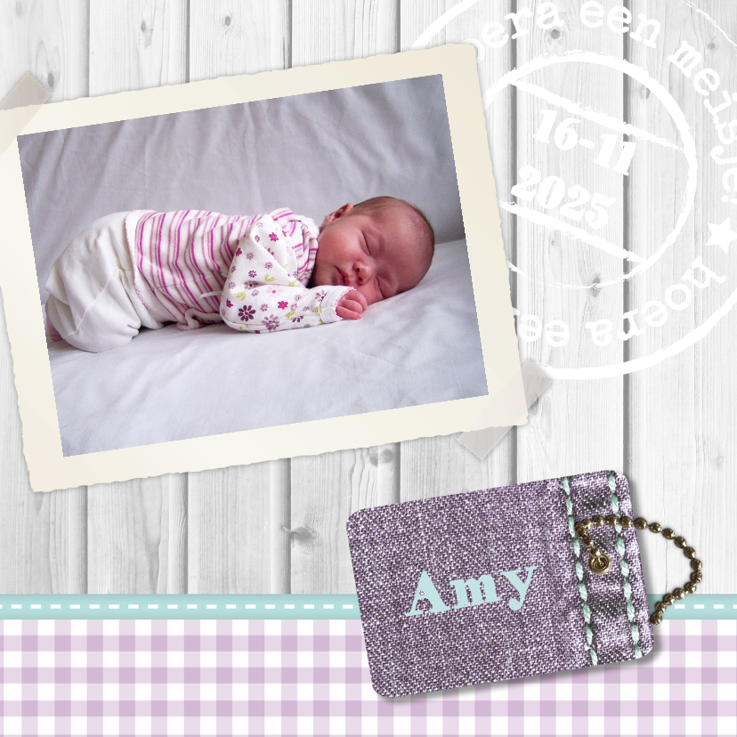 Geboortekaartjes -  Hout met Label meisje - BK