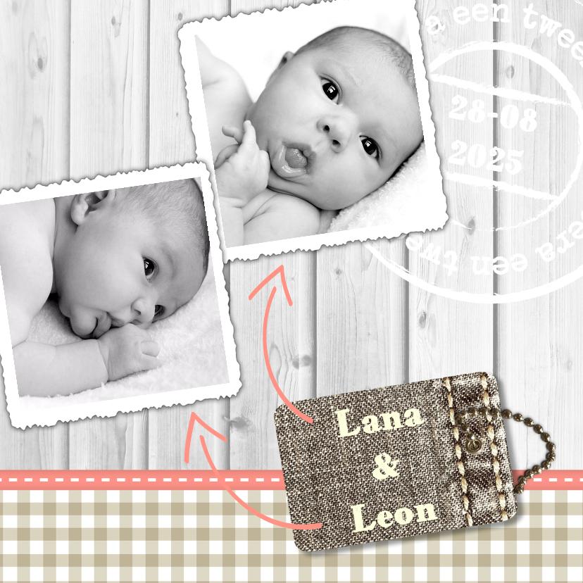 Geboortekaartjes - Hout met Label tweeling - BK