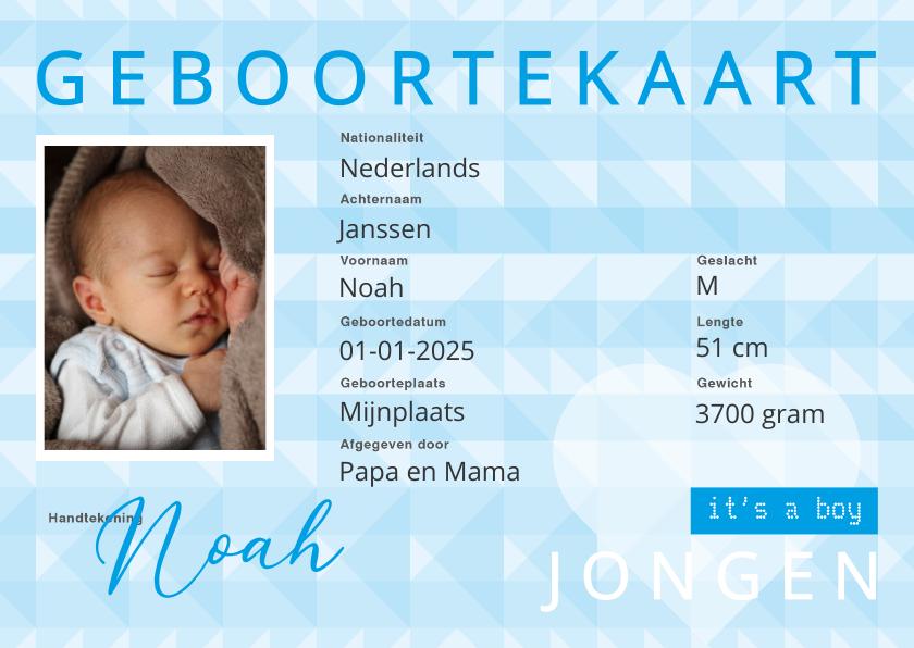 identiteitskaart geboorte jongen 1