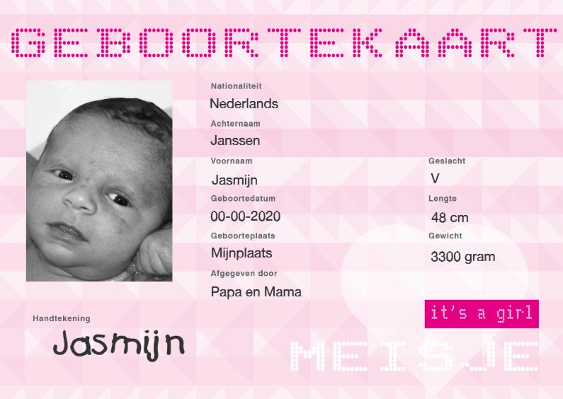 Geboortekaartjes - identiteitskaart geboorte meisje