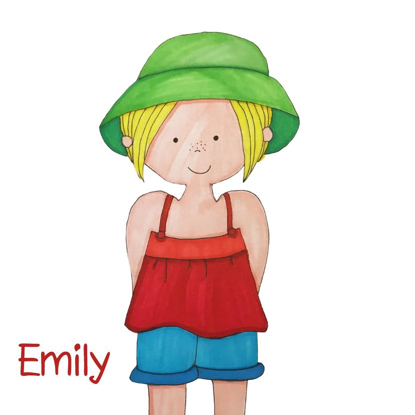 Geboortekaartjes - Illustratie meisje hoed - DH