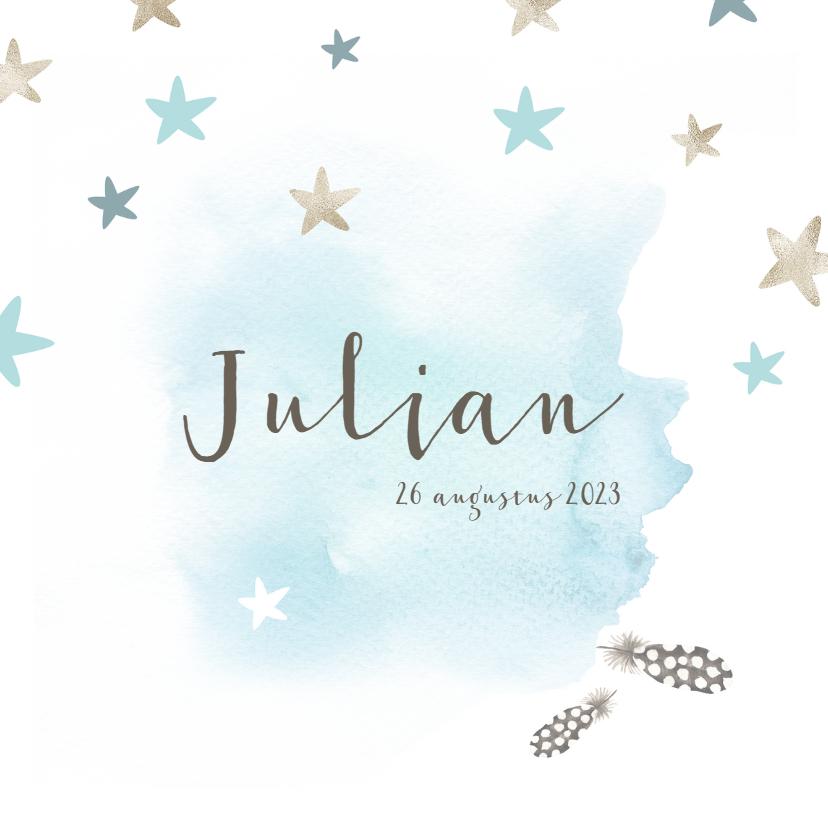 Geboortekaartjes - Jongens geboortekaartje met waterverf en sterren