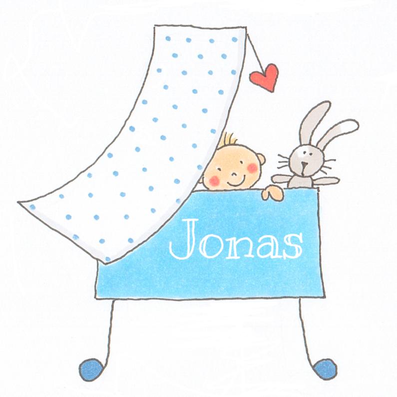 Geboortekaartjes -  Jongensbaby in wieg