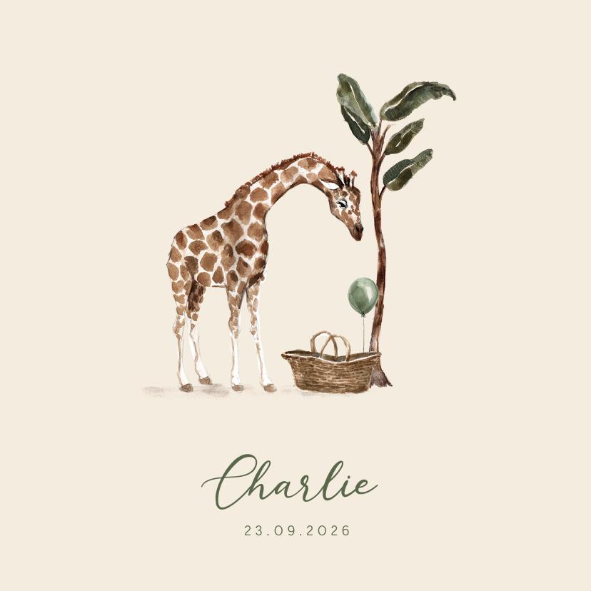 Geboortekaartjes - Jungle geboortekaartje giraf mandje met groene ballon