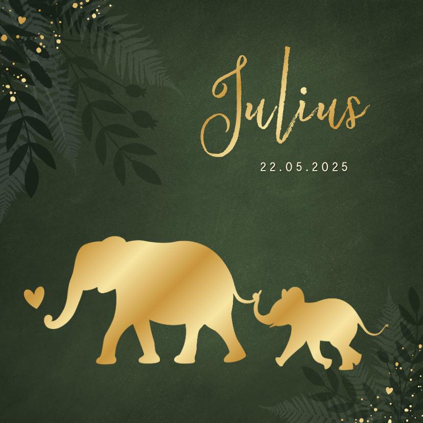 Geboortekaartjes - Jungle geboortekaartje jongen met gouden silhouet olifant