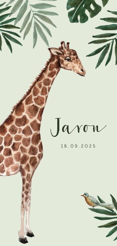 Geboortekaartjes - Jungle geboortekaartje met giraf en groene achtergrond