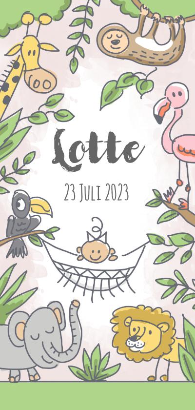 Geboortekaartjes - Jungle geboortekaartje met meisje in hangmat en wilde dieren