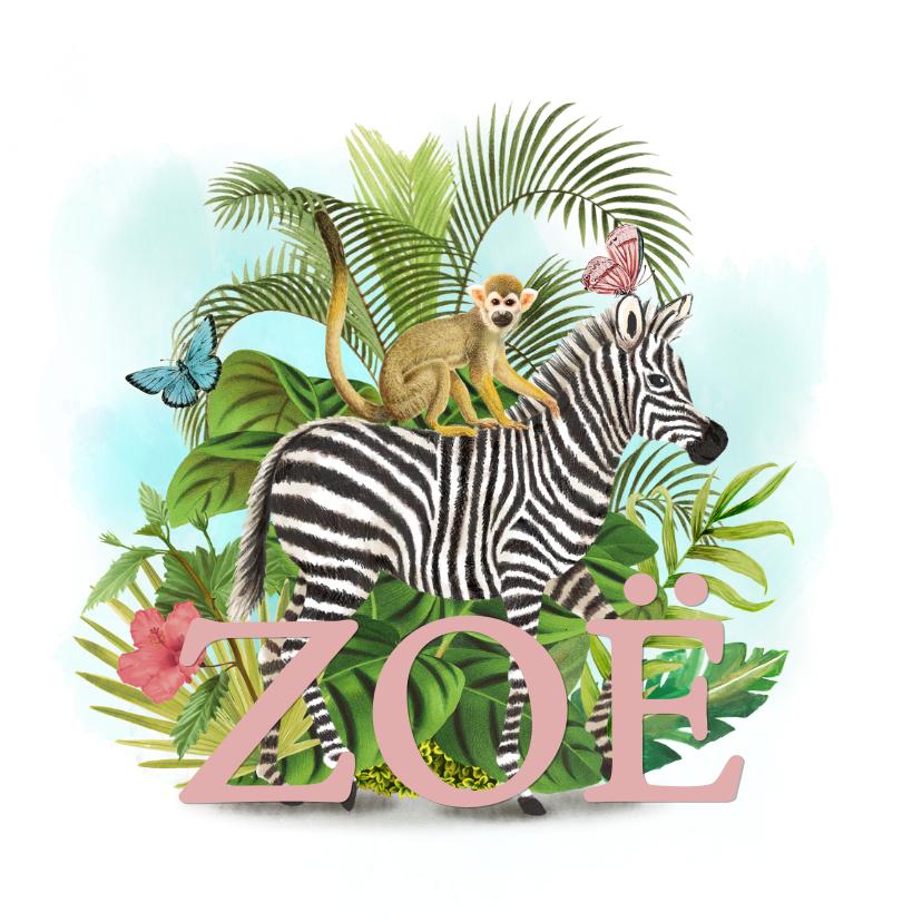 Geboortekaartjes - Jungle geboortekaartje met zebra en aapje en vlinders