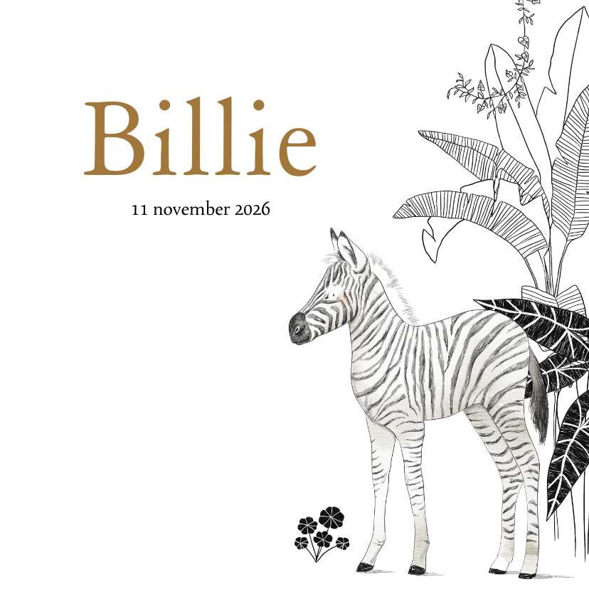 Geboortekaartjes - Jungle geboortekaartje met zebra en botanische planten