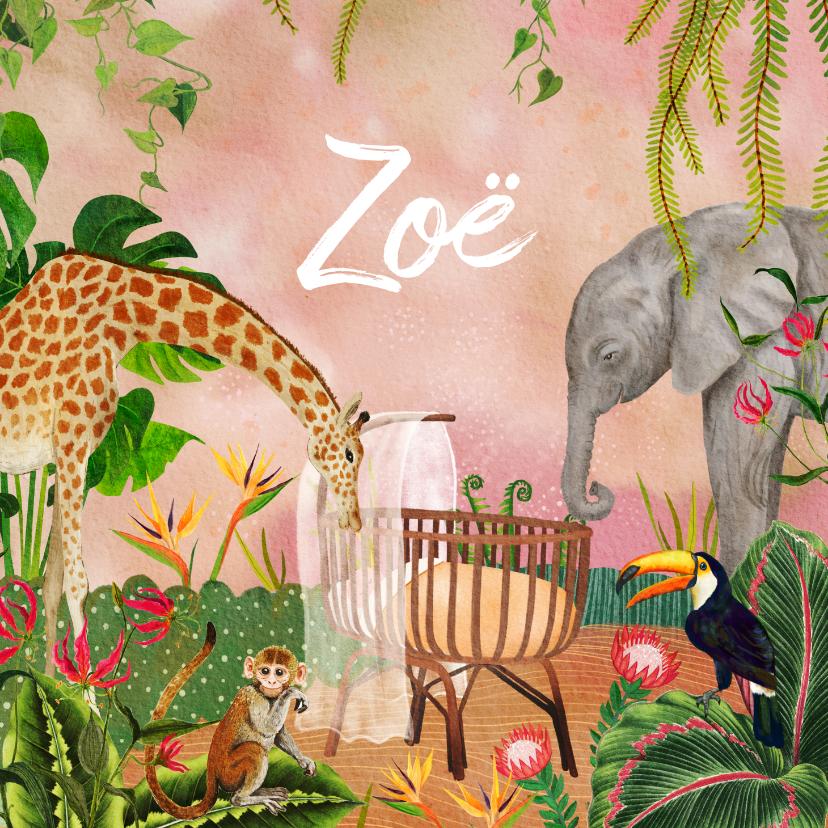 Geboortekaartjes - Jungle geboortekaartje wiegje tussen de dieren