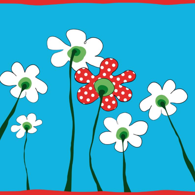 Geboortekaartjes - Kaartje met bloemetje met stippen