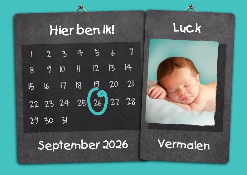 Geboortekaartjes - Kalender geboorte jongen - BK