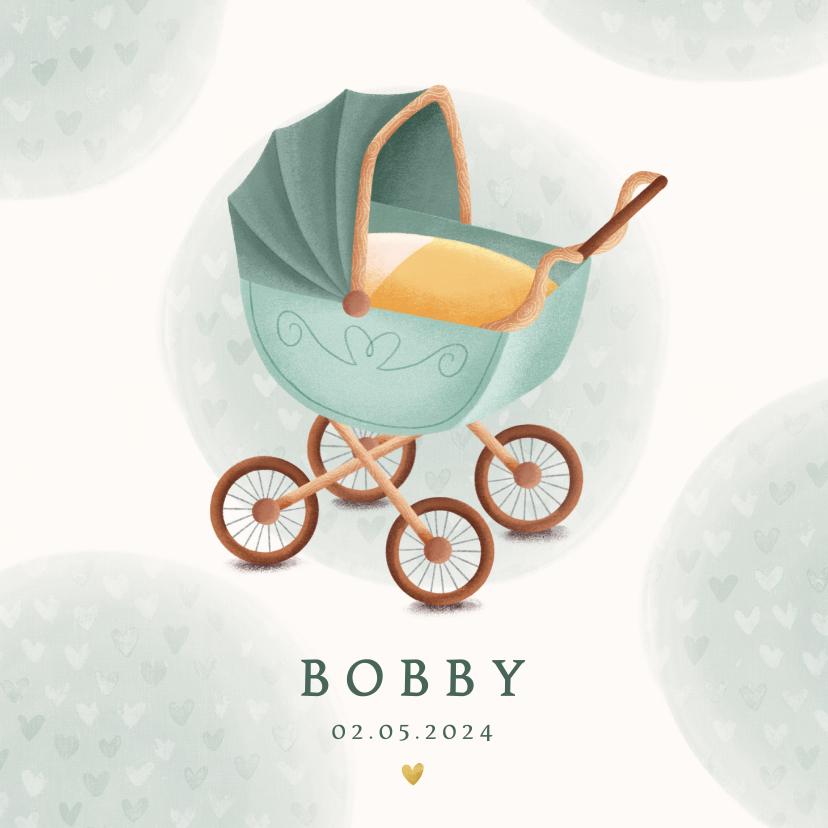 Geboortekaartjes - Klassiek geboortekaartje kinderwagen waterverf en hartjes