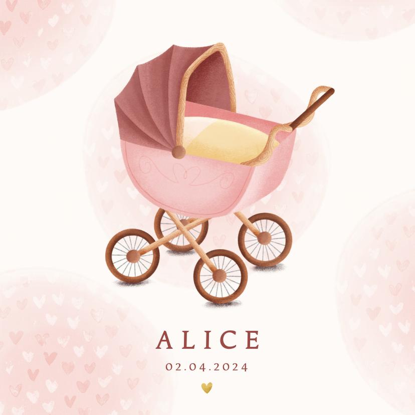 Geboortekaartjes - Klassiek geboortekaartje meisje met kinderwagen en hartjes