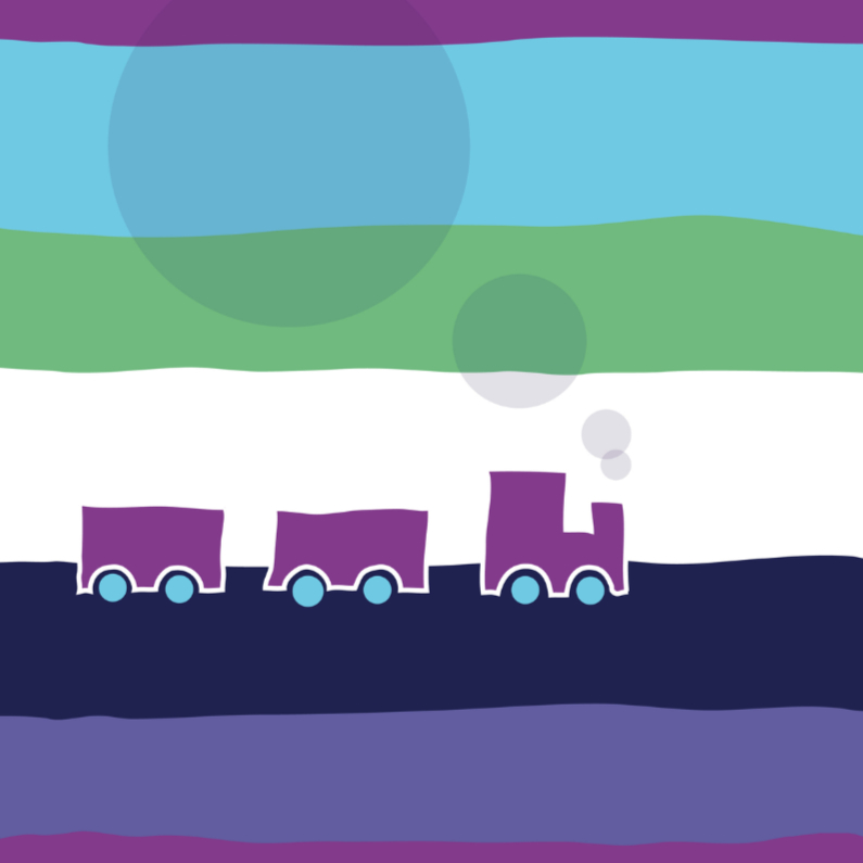 Geboortekaartjes - Kleurig kaartje met trein