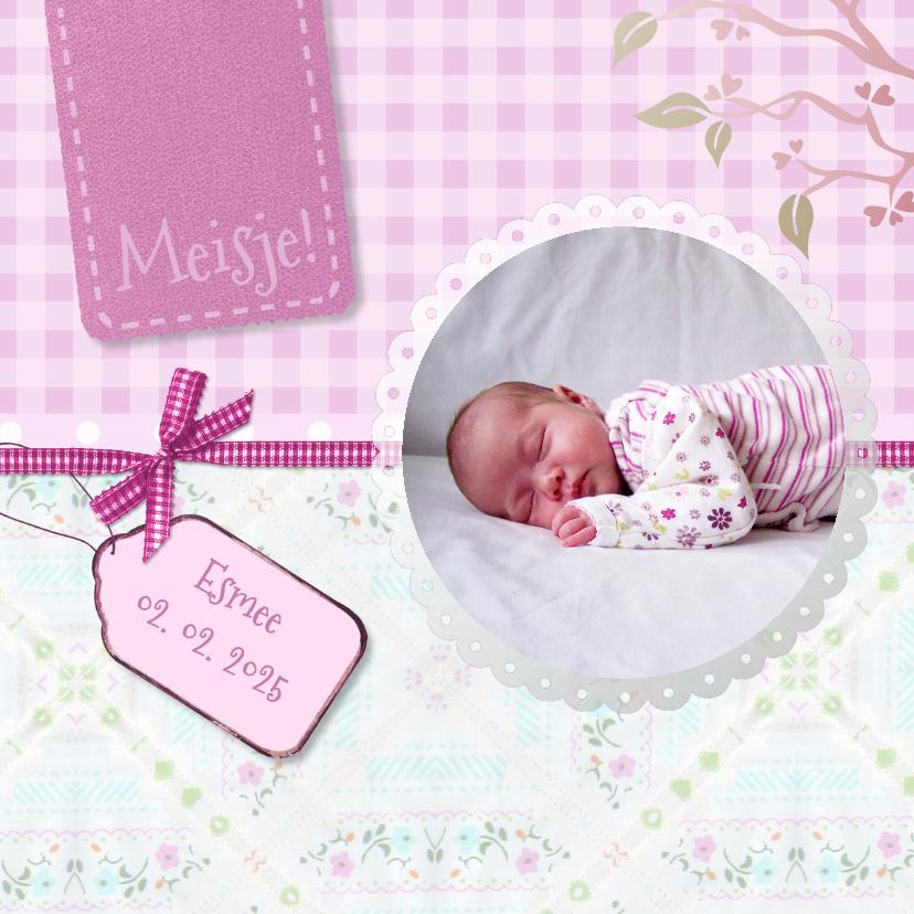 Geboortekaartjes - Kleurig roze geboorte - BK