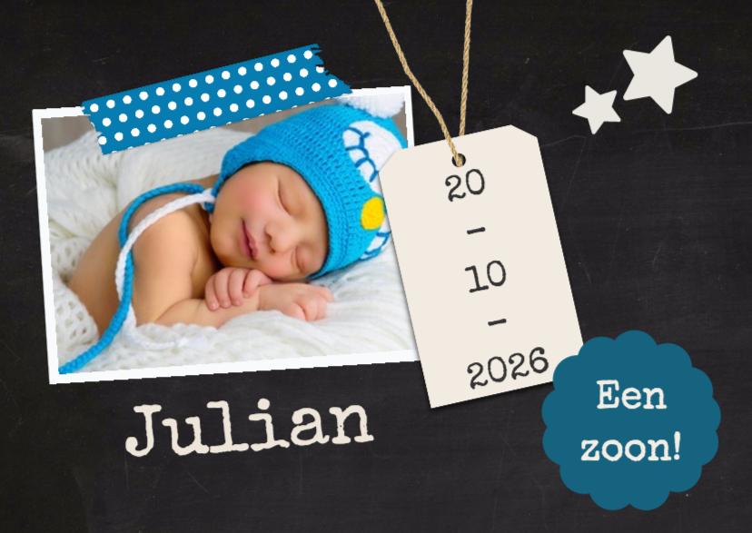 Geboortekaartjes - Krijt 1 foto geboorte - DH