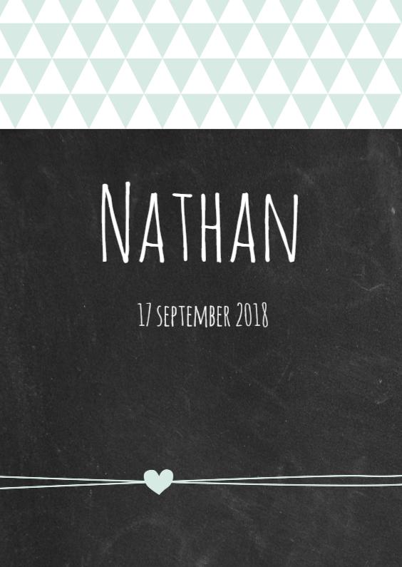 Geboortekaartjes - Krijtbord, driehoekjes, jongen
