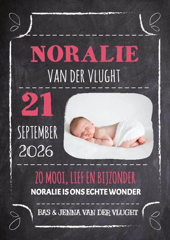 Geboortekaartjes - Krijtbord Geboorte meisje - DH