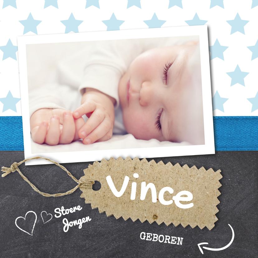 Geboortekaartjes - Krijtbord jongen foto geboorte
