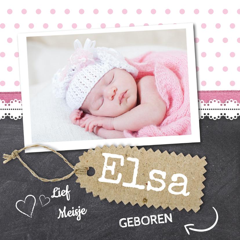 Geboortekaartjes - Krijtbord meisje foto geboorte