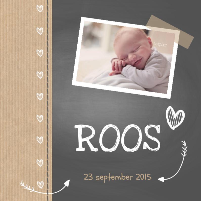 Geboortekaartjes - Krijtbord Roos