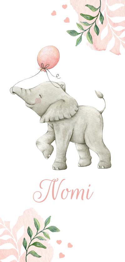 Geboortekaartjes - Langwerpig botanisch geboortekaartje met olifantje en ballon