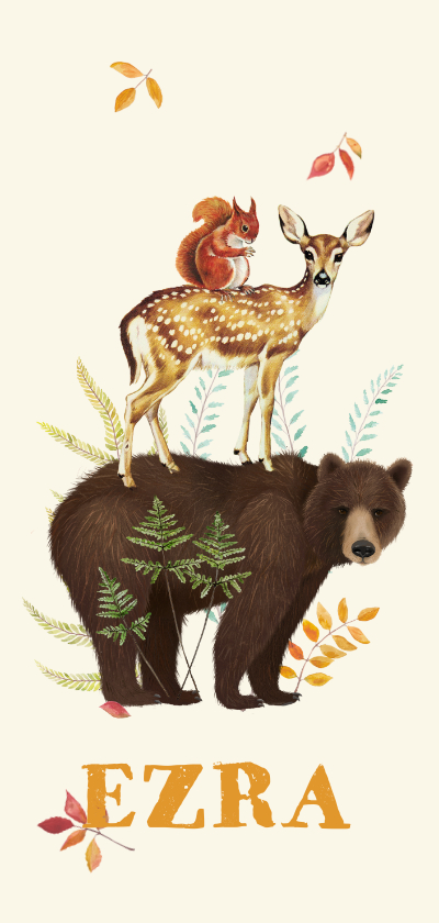 Geboortekaartjes - Langwerpig geboortekaartje beer met hert en eekhoorn