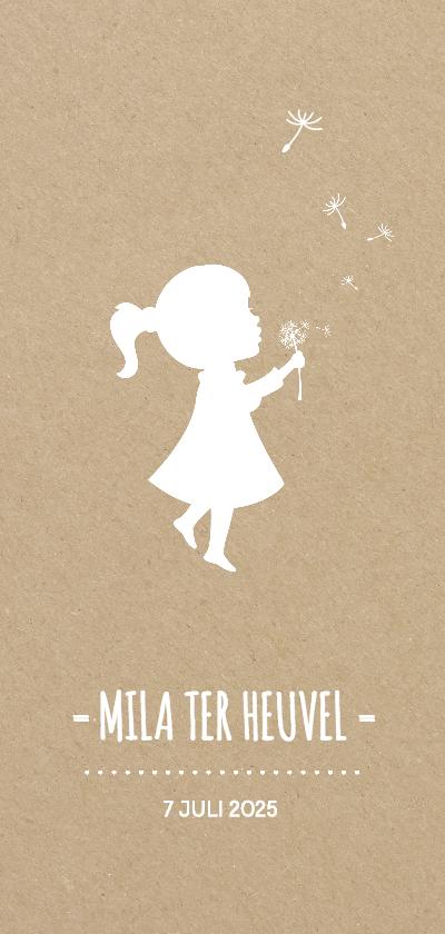 Geboortekaartjes - Langwerpig kraft geboortekaartje meisje met paardebloem