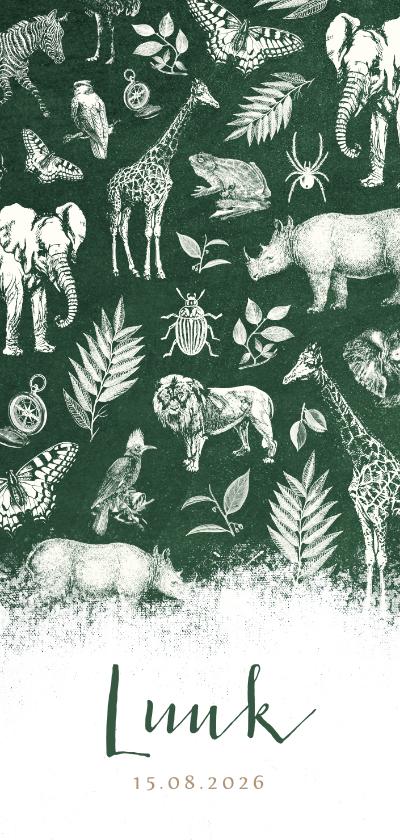 Geboortekaartjes - Langwerpig stoer geboortekaartje jungle met allerlei dieren